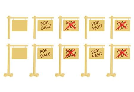 set of real estate signs vector illustration Vector