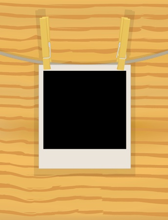 photo hanging on a rope over wooden wall vector illustration Vector
