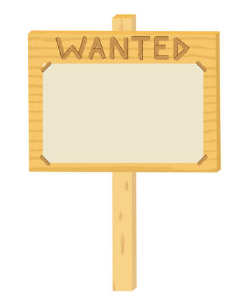 wooden sign Wanted over white vector illustration Vector