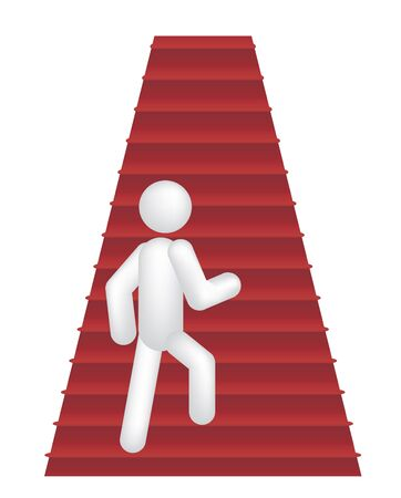3d person walking up by steps vector illustration Vector