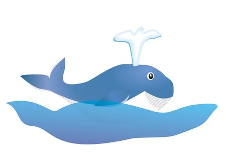 smiling blue whale kid on ocean wave vector illustration Vector