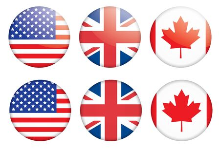 set of three badges with flags vector illustration Vector