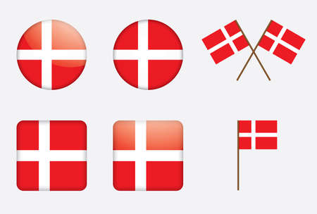 danish flag: badges with Danish flag vector illustration Illustration