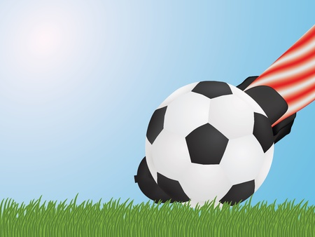 foot hitting soccer ball Vector