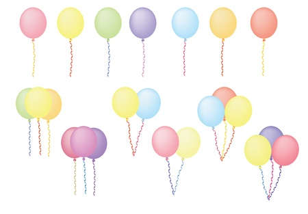 spiral binding: set of color balloons vector illustration