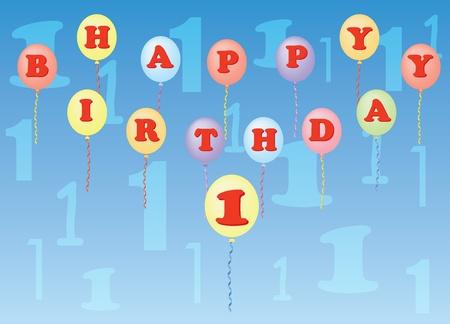happy birthday one year vector illustration Vector