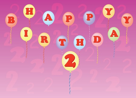 happy birthday two years vector illustration Stock Vector - 13196301