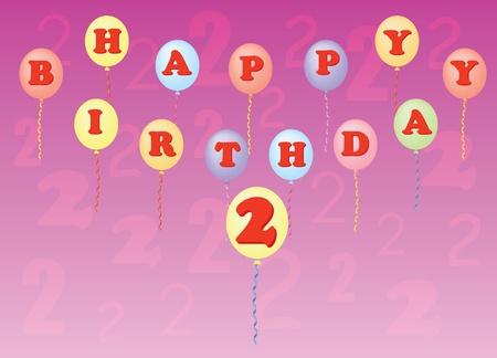 happy birthday two years vector illustration Stock Vector - 13196301