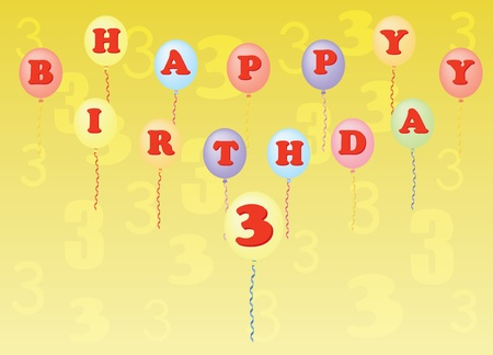 happy birthday three years vector illustration Stock Vector - 13196303