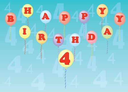 happy birthday four years vector illustration Stock Vector - 13196300
