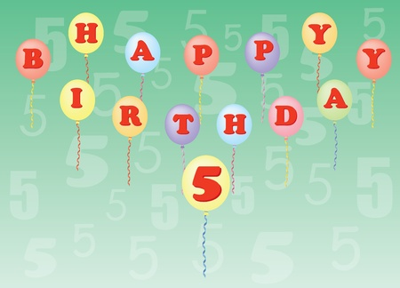 happy birthday five years vector illustration Stock Vector - 13196304