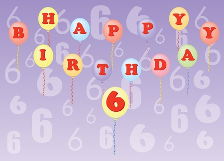 happy birthday six years vector illustration Stock Vector - 13229868