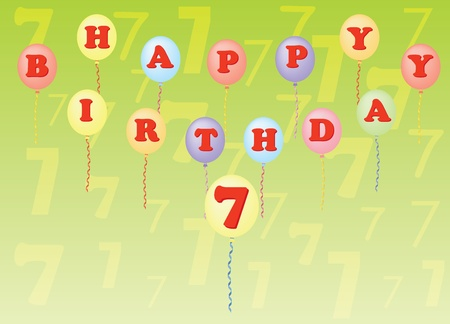 seven years: happy birthday seven years vector illustration