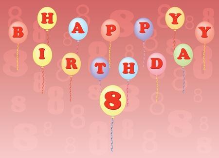 happy birthday eight years vector illustration Vector