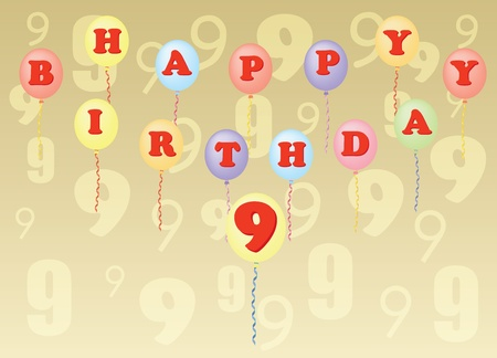 happy birthday nine years vector illustration Stock Vector - 13229867