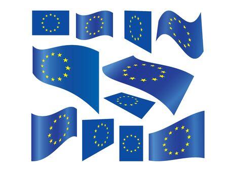 set of European Union flags vector illustration