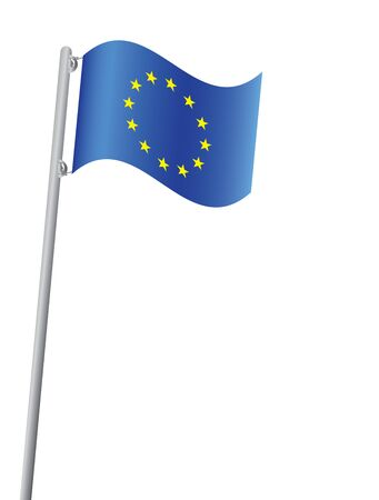 flagpole: European Union flag on flagpole vector illustration