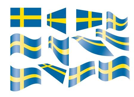 set of Swedish flags vector illustration Illustration
