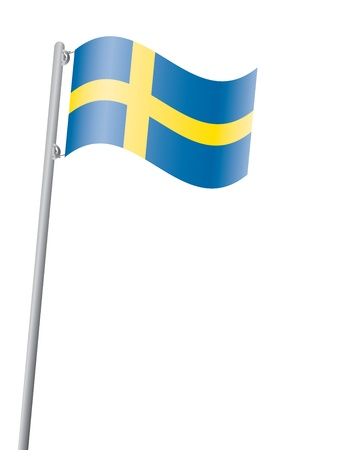 flagpole: Swedish flag on flagpole vector illustration