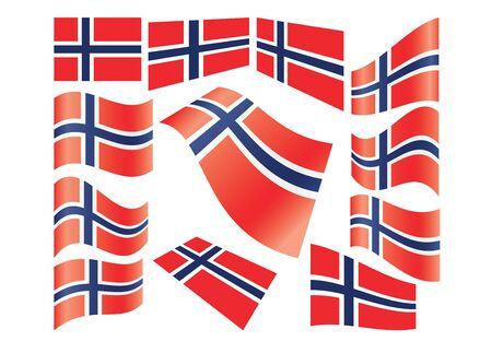 flyaway: set of Norwegian flags vector illustration