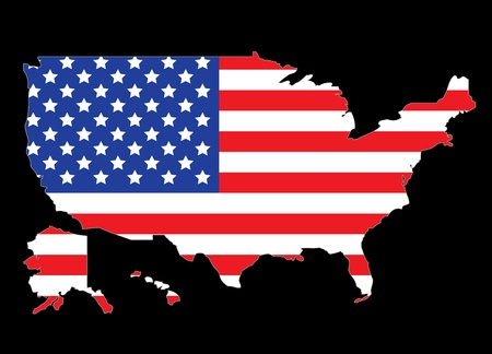 flags usa: USA map outline with United States flag vector illustration