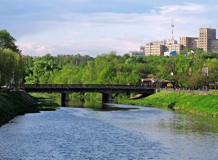 kharkov: view on center of Kharkiv from bridge over river Stock Photo