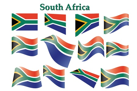 south africa: set of South Africa flags