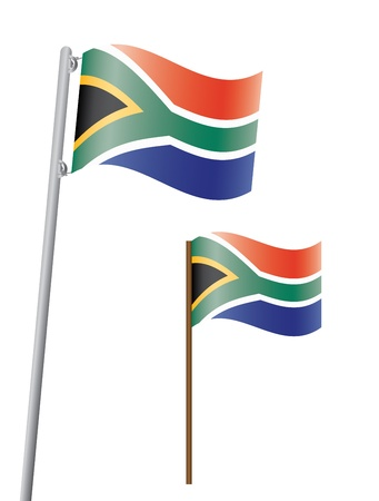 flagstaff: South Africa flag on flagstaff  Illustration