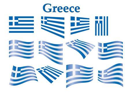 flyaway: set of flags of Greece illustration