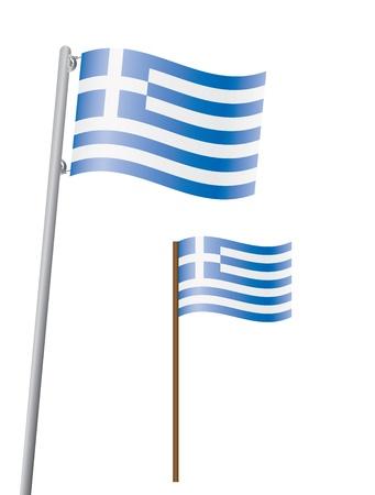 flagstaff: flag of Greece on flagstaff illustration