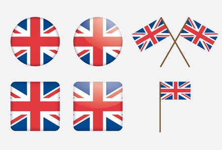 union jack: badges with United Kingdom flag illustration