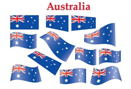 flag australia: set of Australia flags illustration