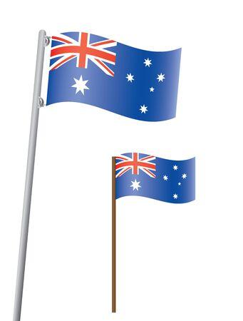 flagstaff: flag of Australia on flagstaff illustration