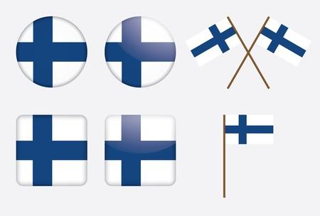 badges with Finland flag  Illustration