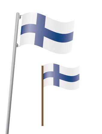 flagstaff: flag of Finland on flagstaff