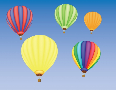 man in air: five hot air balloons in a sky