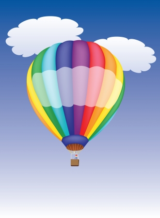 man in air: hot air balloon in a cloudy sky
