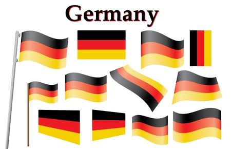 флагшток: Набор немецких векторные иллюстрации флаг