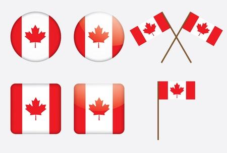 флагшток: значки с канадским векторные иллюстрации флаг