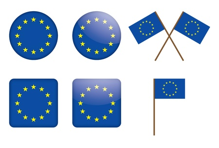 set of badges with European Union flag illustration Stock Vector - 13845328