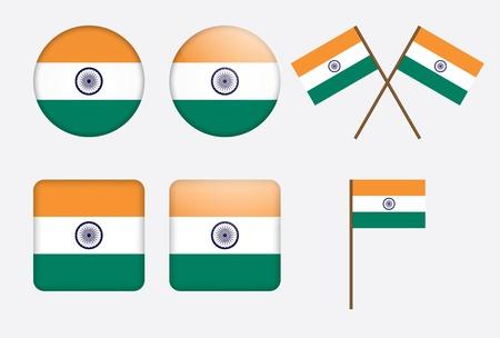 ashok: set of badges with flag of India illustration Illustration
