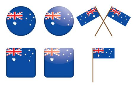 flag australia: badges with flag of Australia illustration Illustration