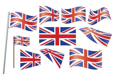 set of Union Jack flags illustration Vector