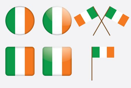set of badges with flag of Ireland illustration Stock Vector - 13880289