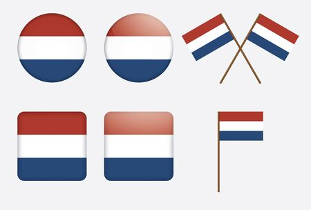 set of badges with flag of the Kingdom of the Netherlands illustration Stock Vector - 13880299