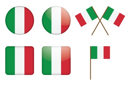 set of badges with Italian flag illustration Stock Vector - 13880294