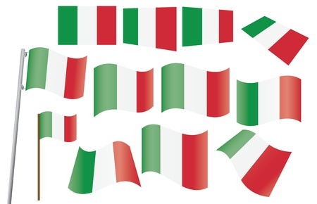 waved: set of flags of Italy illustration
