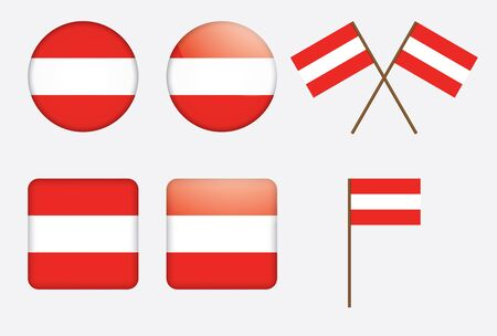 set of badges with flag of Austria illustration Stock Vector - 13880300