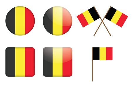 set of badges with flag of Belgium Vector