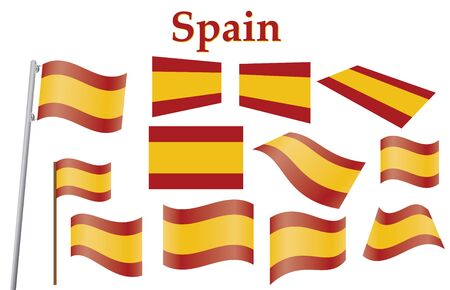 set of civil flags of Spain Stock Vector - 13884276